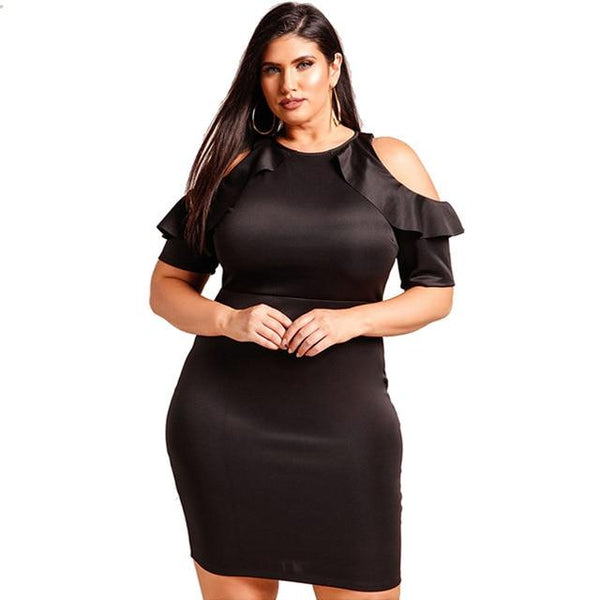 Summer O Neck Short Sleeve Casual Dress dress Black XL