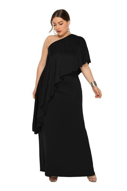 Summer Off Shoulder Ruffles Party Dress dress Black XXXL