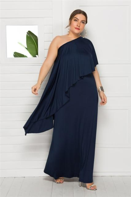 Summer Off Shoulder Ruffles Party Dress dress Blue XXL