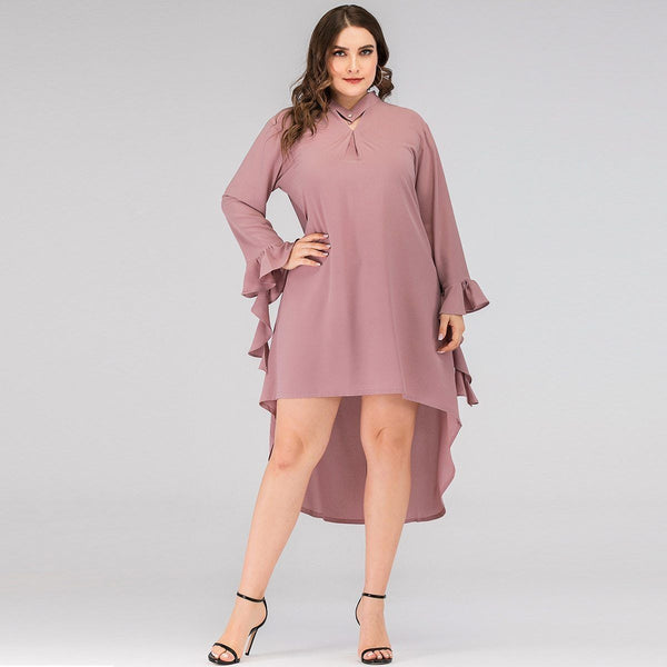 Summer Ruffles Long Sleeve Solid Irregular Dress dress