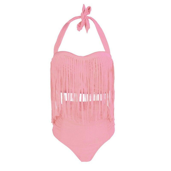 Summer Sexy Tassel Halter Top Push Up Bikini Set swimwear