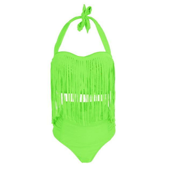 Summer Sexy Tassel Halter Top Push Up Bikini Set swimwear green L