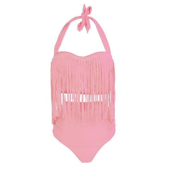 Summer Sexy Tassel Halter Top Push Up Bikini Set swimwear pink L