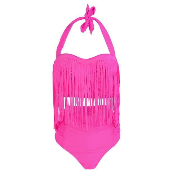 Summer Sexy Tassel Halter Top Push Up Bikini Set swimwear rose red L