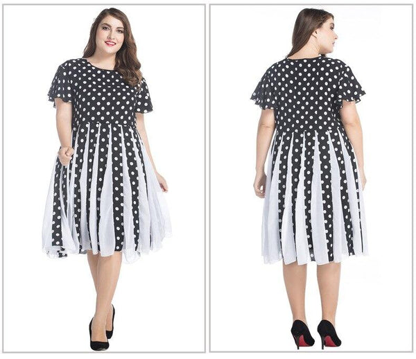 Summer Short Sleeve Dot Print High Waist Dress dress