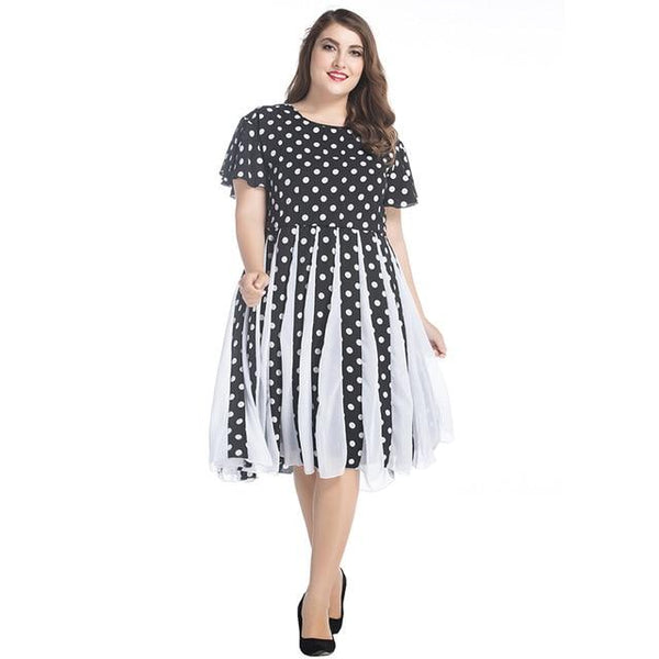 Summer Short Sleeve Dot Print High Waist Dress dress Multi XXXL