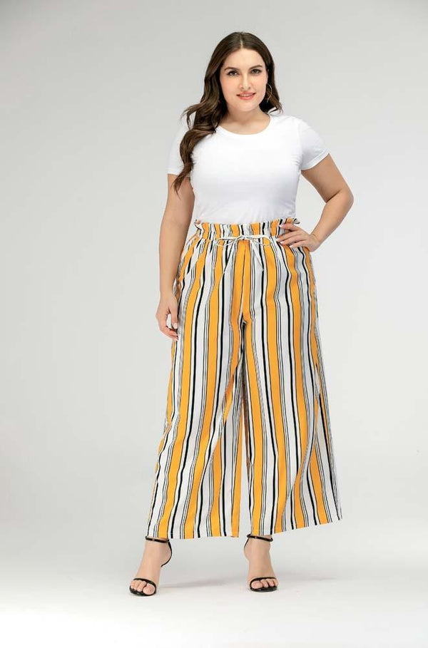 Summer Striped Print Bohemian Pants pants