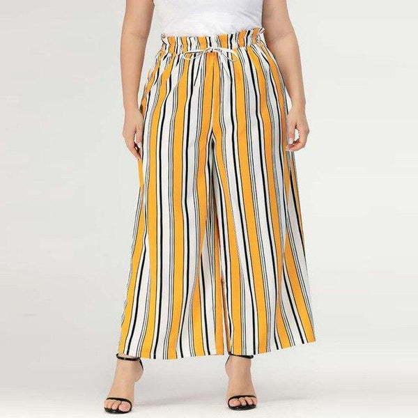 Summer Striped Print Bohemian Pants pants Yellow XXXL