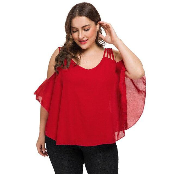 Summer V Neck Cold Shoulder Strap Blouse blouse Red 4XL