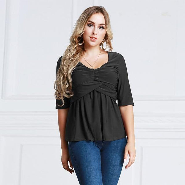 Summer V Neck Half Sleeve Casual Blouse blouse Black 6XL