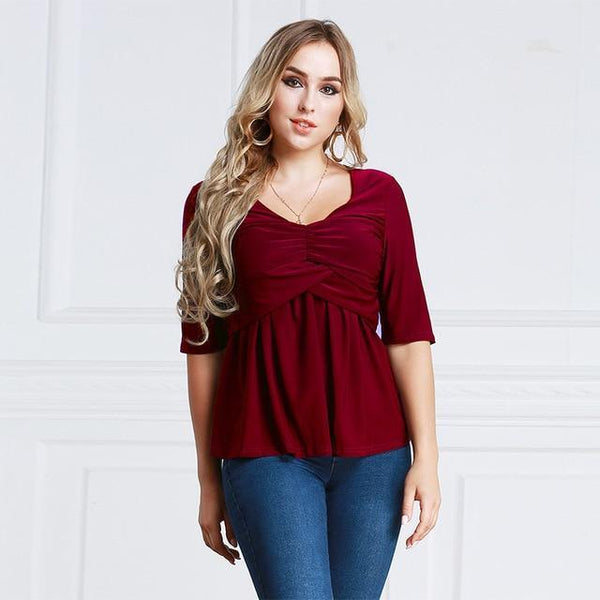 Summer V Neck Half Sleeve Casual Blouse blouse Burgundy XXL