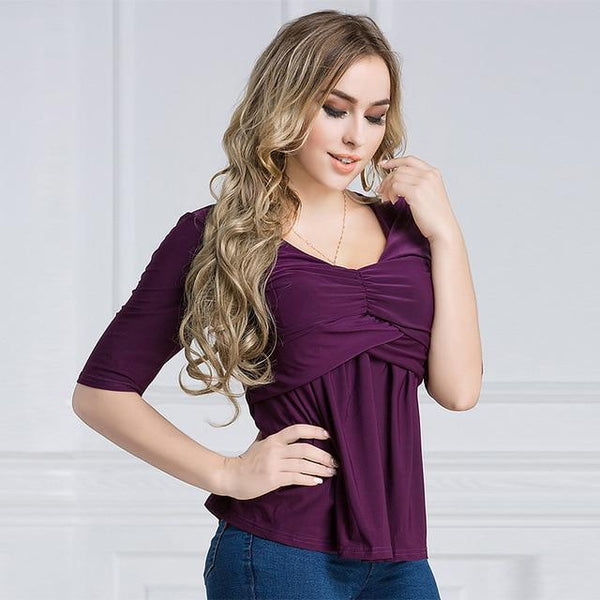 Summer V Neck Half Sleeve Casual Blouse blouse Purple XXXL