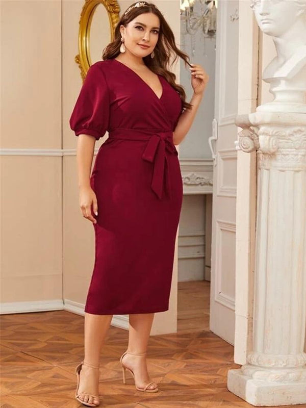 Summer V Neck Lantern Sleeve Dress dress