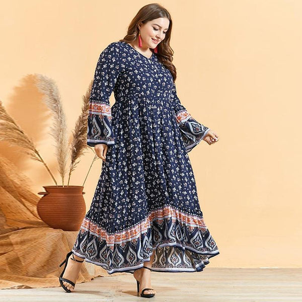 Summer V Neck Long Sleeve Casual Long Dress dress