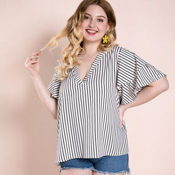 Summer V Neck Ruffles Short Sleeve Casual Blouse blouse