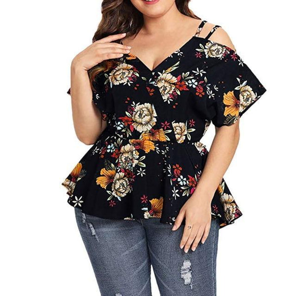 Summer V Neck Short Sleeve Cold Shoulder Blouse blouse Black XL