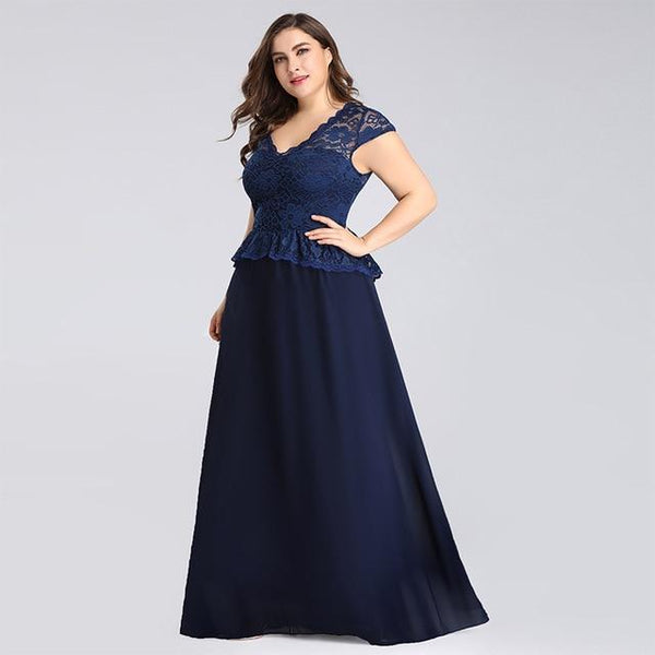 Summer V Neck Short Sleeve Lace Hollow Out Dress dress Navy Blue 18