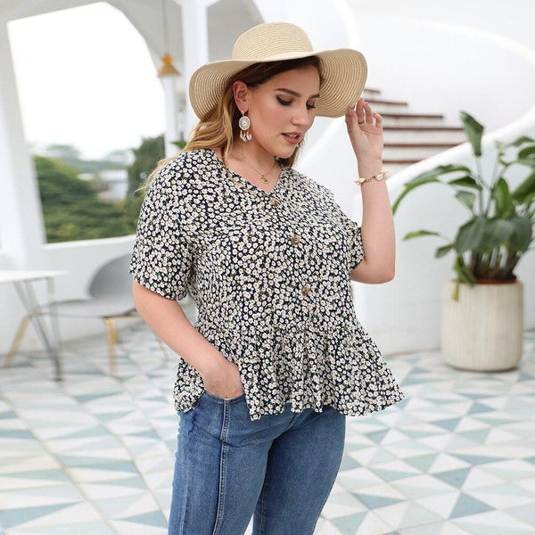 Summer V Neck Short Sleeve Ruffles Blouse blouse
