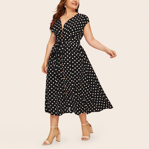 Summer V Neck Sleeveless Polka Dot Print Long Dress dress