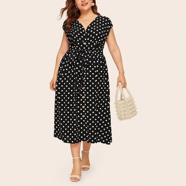 Summer V Neck Sleeveless Polka Dot Print Long Dress dress Black 5XL