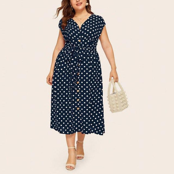 Summer V Neck Sleeveless Polka Dot Print Long Dress dress Navy Blue 5XL