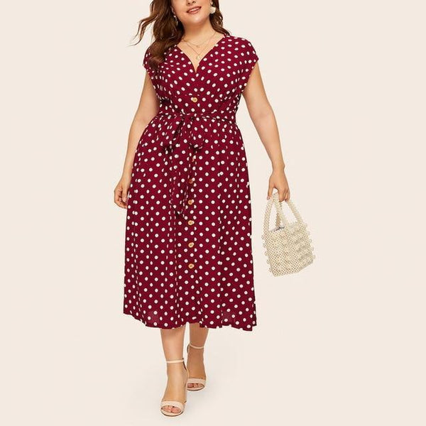 Summer V Neck Sleeveless Polka Dot Print Long Dress dress Red 5XL
