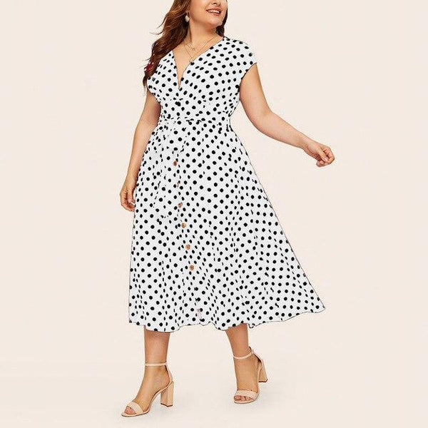 Summer V Neck Sleeveless Polka Dot Print Long Dress dress White 5XL