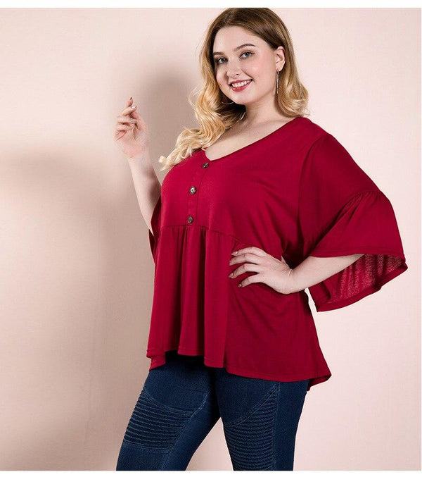 Summer V Neck Three Quarter Sleeve Casual Blouse blouse
