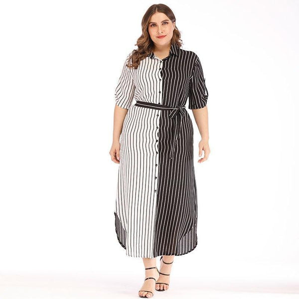 Summer White And Black Striped Patchwork Dress dress