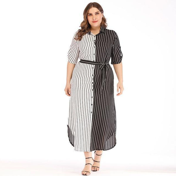 Summer White And Black Striped Patchwork Dress dress Black XL