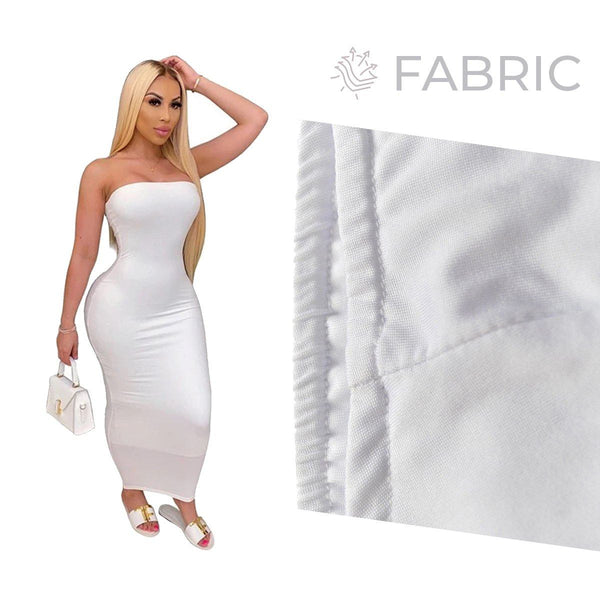 Summer Women Plus Size Solid Sexy Strapless Slash Neck Sleeveless Tight High Stretch Long Bodycon Dress white
