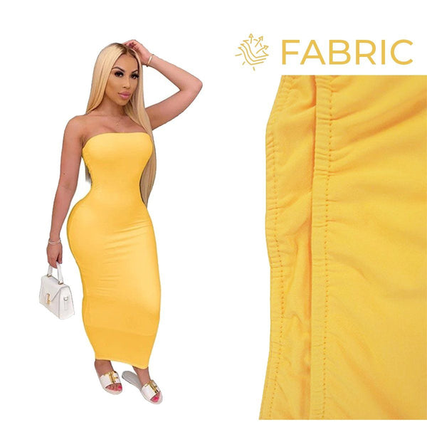 Summer Women Plus Size Solid Sexy Strapless Slash Neck Sleeveless Tight High Stretch Long Bodycon Dress yellow