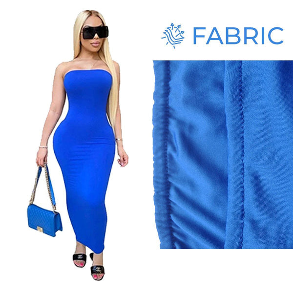 Summer Women Plus Size Solid Sexy Strapless Slash Neck Sleeveless Tight High Stretch Long Bodycon Dress blue