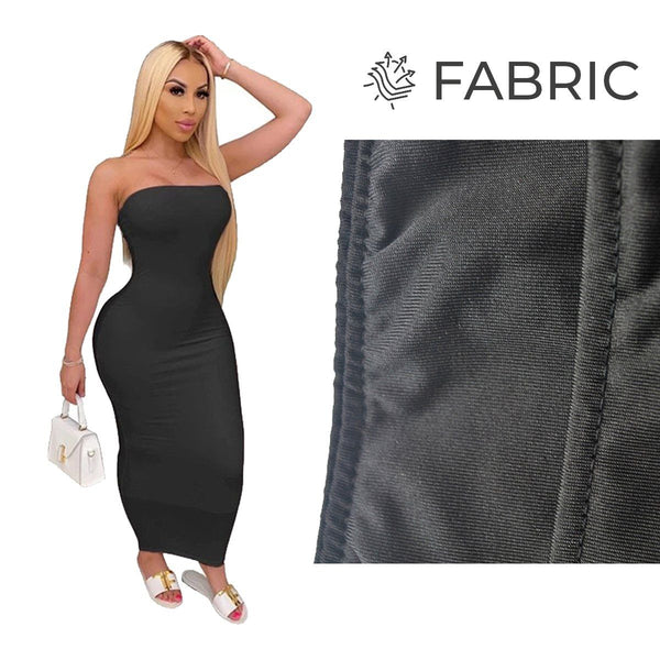 Summer Women Plus Size Solid Sexy Strapless Slash Neck Sleeveless Tight High Stretch Long Bodycon Dress black