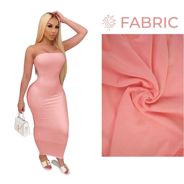 Summer Women Plus Size Solid Sexy Strapless Slash Neck Sleeveless Tight High Stretch Long Bodycon Dress pink
