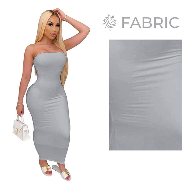 Summer Women Plus Size Solid Sexy Strapless Slash Neck Sleeveless Tight High Stretch Long Bodycon Dress grey
