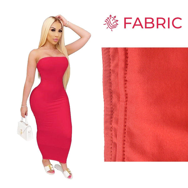 Summer Women Plus Size Solid Sexy Strapless Slash Neck Sleeveless Tight High Stretch Long Bodycon Dress red