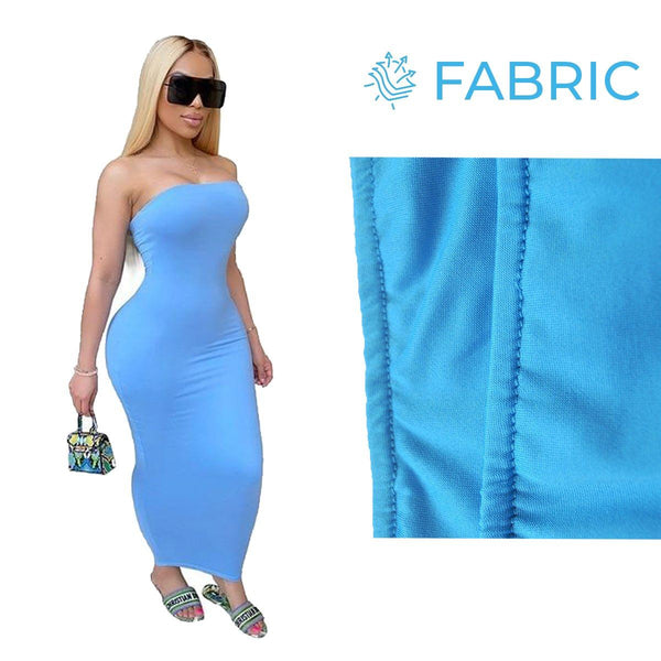 Summer Women Plus Size Solid Sexy Strapless Slash Neck Sleeveless Tight High Stretch Long Bodycon Dress sky blue