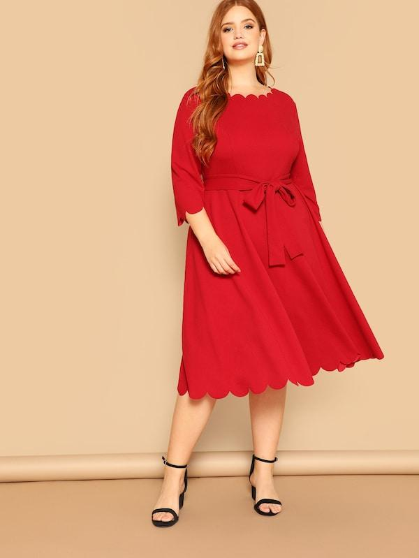 Three Quarter Sleeve Solid Casual Midi Dress dress