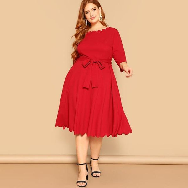 Three Quarter Sleeve Solid Casual Midi Dress dress Red 4XL