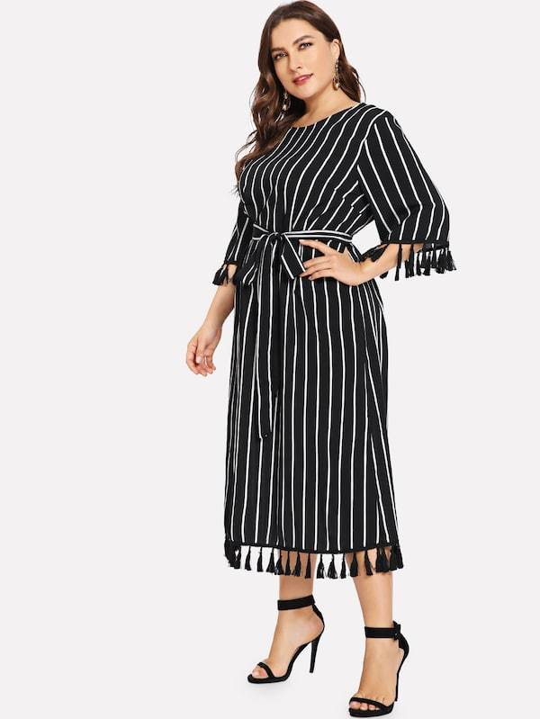 Three Quarter Sleeve Striped Print Boho Beach Dress dress