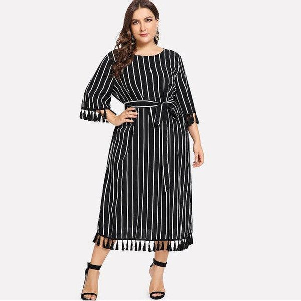Three Quarter Sleeve Striped Print Boho Beach Dress dress Black XXXL