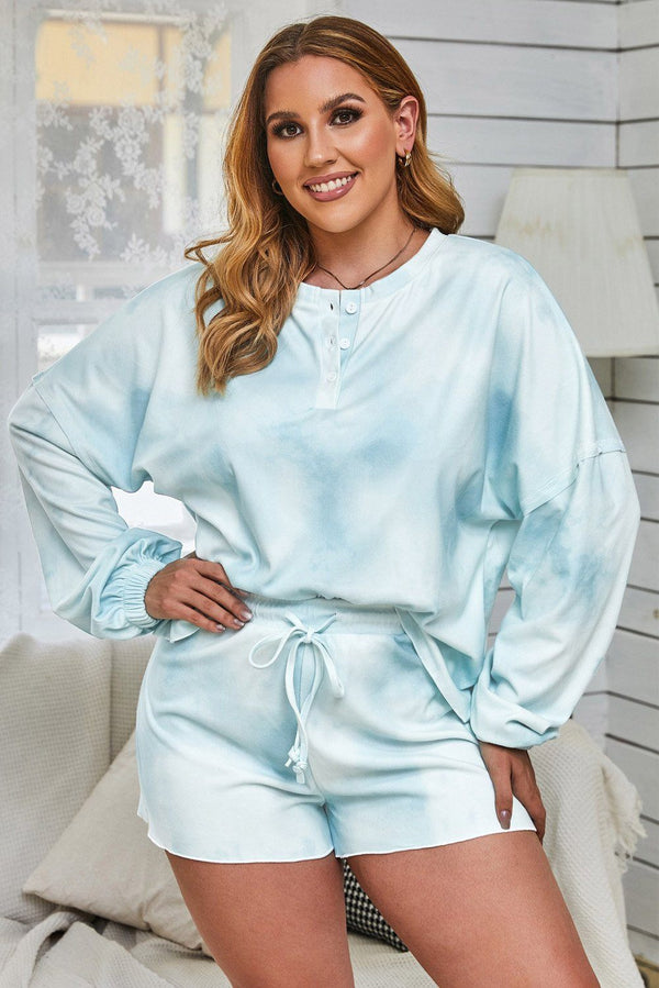 Tie Dye Long Sleeve Top& Shorts Plus Size Loungewear Loungewear Sky Blue 1X
