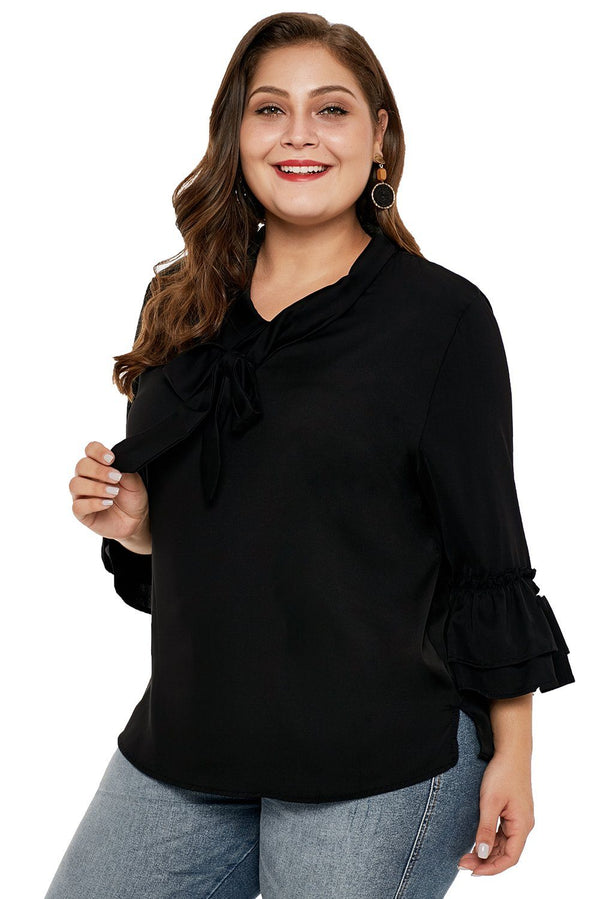 Tie Neck Ruffle Sleeved Plus Size Blouse Tops