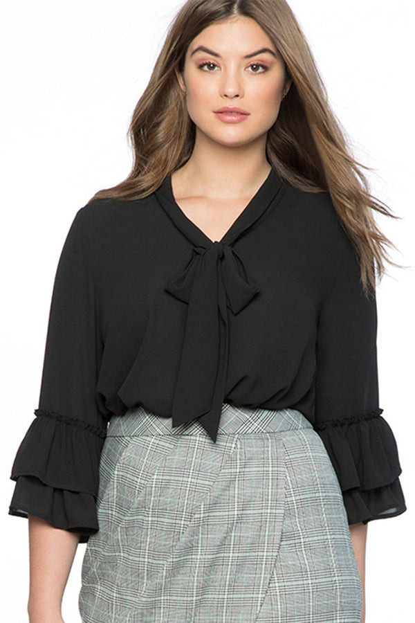 Tie Neck Ruffle Sleeved Plus Size Blouse Tops Black XL