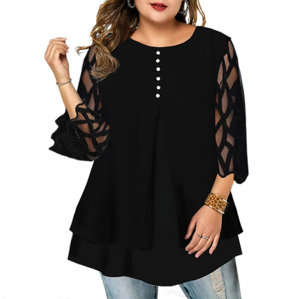Translucent Sleeve Geometric Blouse blouse