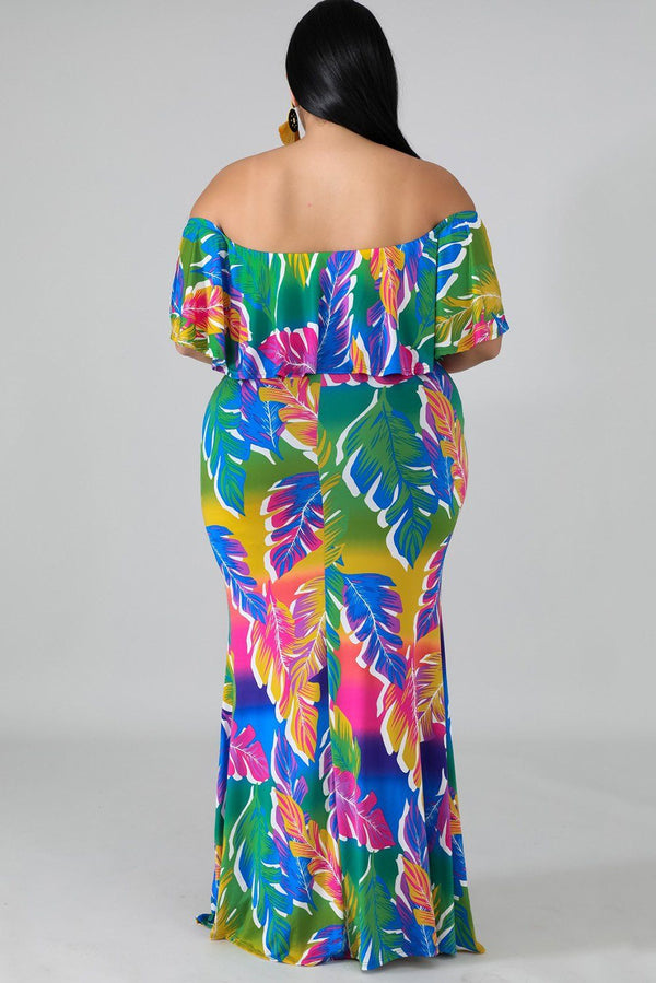 Tropical Palms Mermaid Dress dress