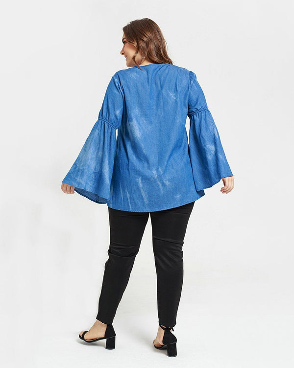Trumpet Sleeves Denim Loose Shirt Tops