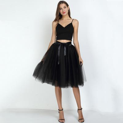 Tulle Mesh Skirt Pleated Wedding Bridesmaid Skirt wedding Black One Size
