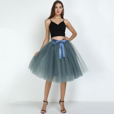 Tulle Mesh Skirt Pleated Wedding Bridesmaid Skirt wedding gray One Size